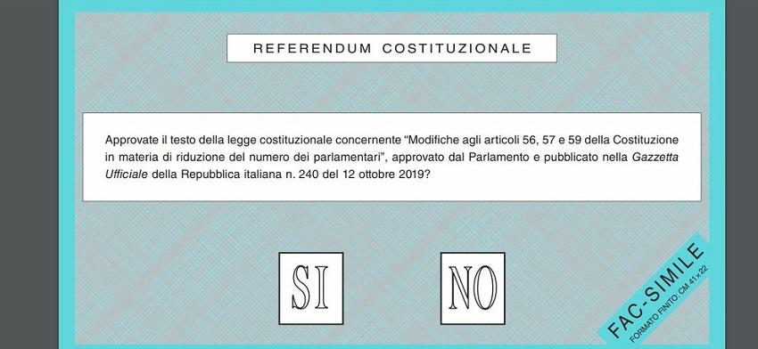 fac simile della scheda per il referendum sul taglio dei parlamentari