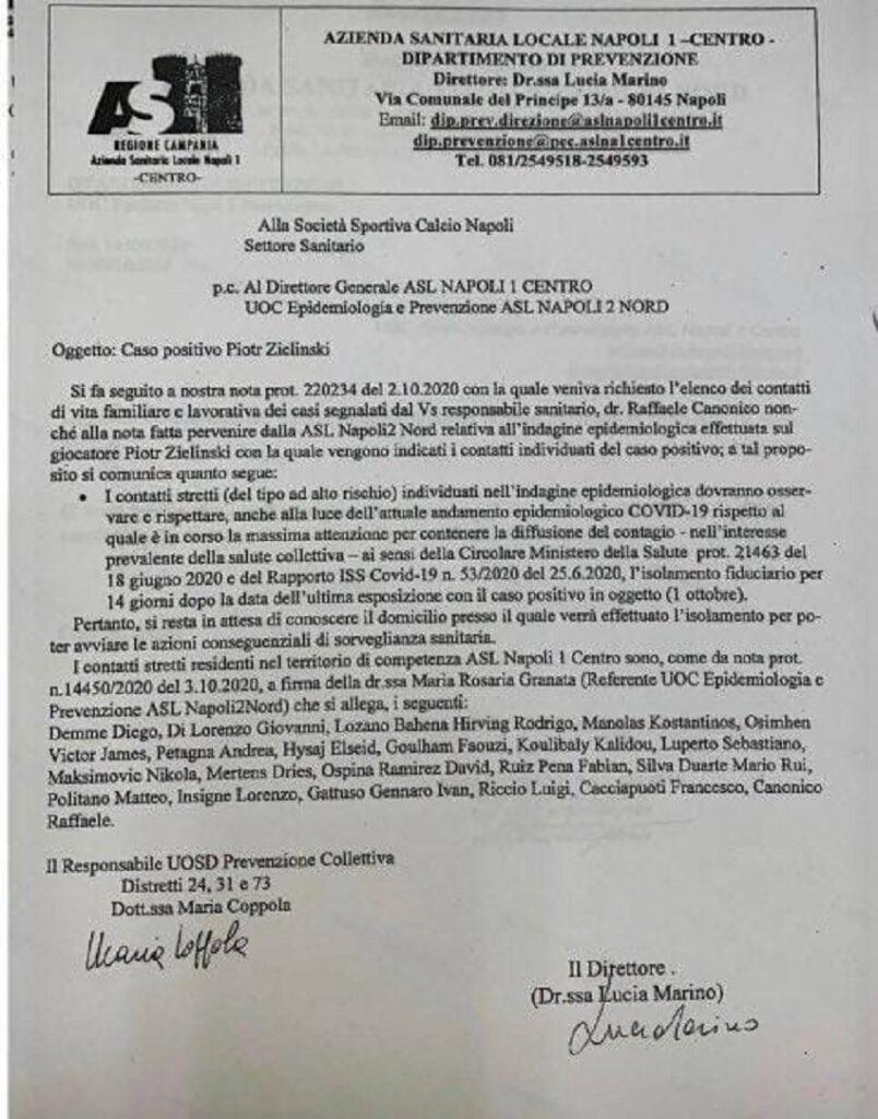 calcio e covid: documento asl napoli 1 centro
