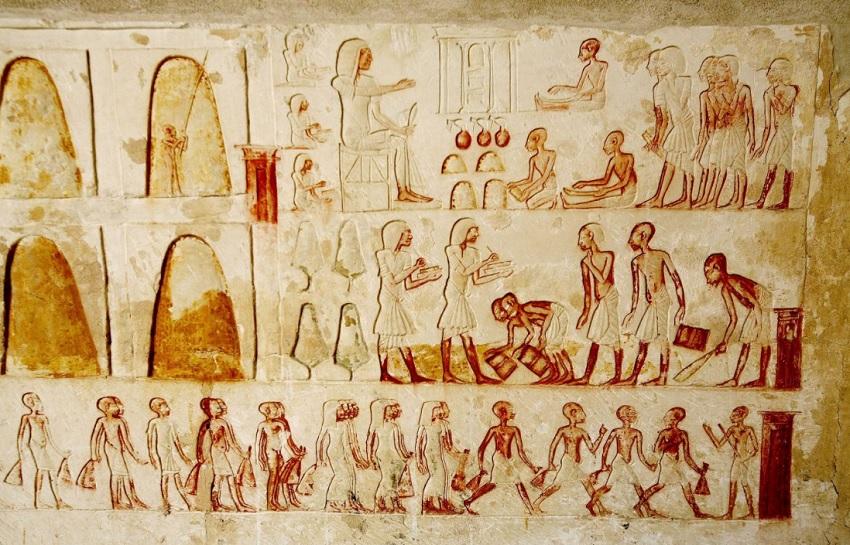 antico egitto: rilievi del tempio di aton