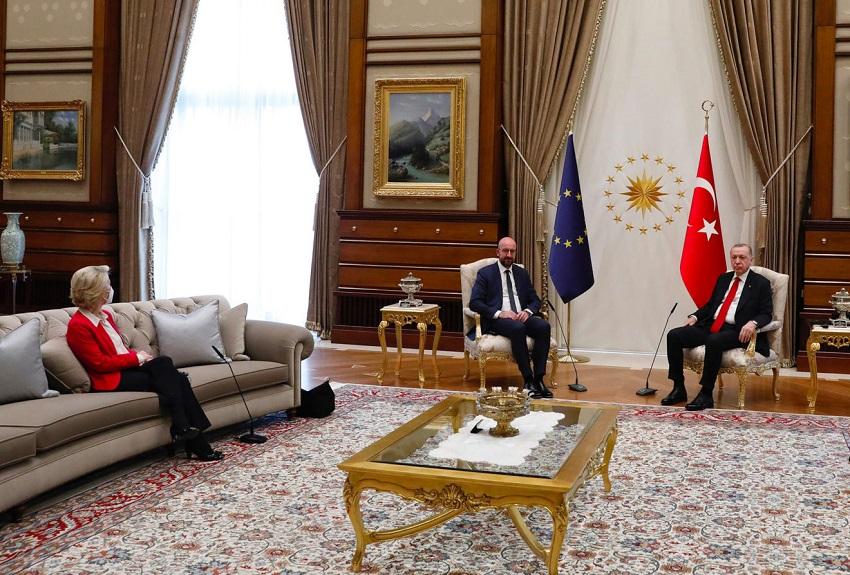 sofagate: ursula von der leyen, charles michel e recep tayyip erdoğan