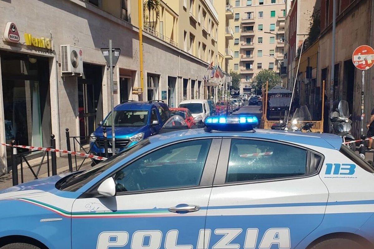Volante della Polizia sul luogo dell'aggressione