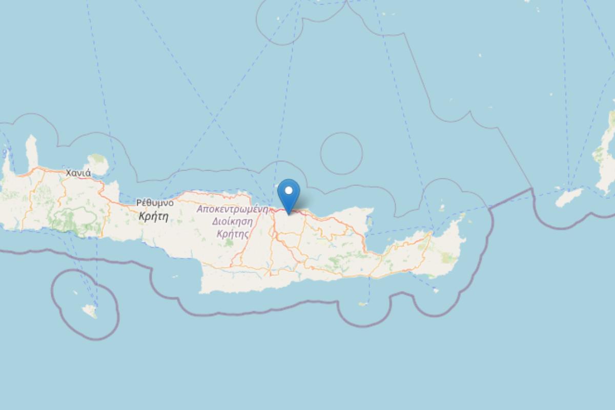 La mappa che segnala il terremoto verificatosi sull'isola di Creta, in Grecia